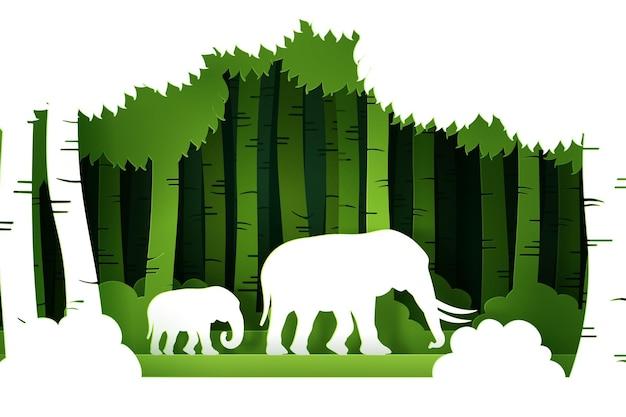 Wektor i cyfrowy styl rzemieślniczy zielonego eko lasu ze słoniami.
