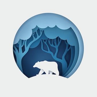 Wektor i cyfrowy styl rzemiosła eko lasu z niedźwiedziem