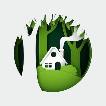 Wektor i cyfrowy styl rzemiosła house in the forest