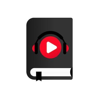 Wektor ikona książki audio. kurs audio. kursy online. wektor. eps 10