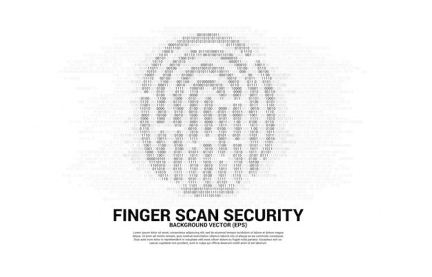 Wektor ikona odcisku palca z jednego i zera kodu binarnego. koncepcja technologii skanowania palców i dostępu do prywatności.