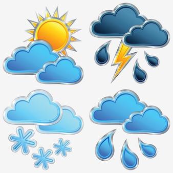 Wektor ikona pogody: słońce; księżyc; gwiazda; chmura; deszcz; burza; błyskawica i śnieg