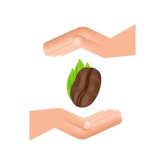 Wektor ikona ziarna kawy nad rękami dla etykiety kawiarni, pakowania i godła.