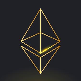 Wektor ikony kryptowaluty blockchain ethereum w złotej koncepcji finansowania open-source