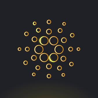 Wektor ikony kryptowaluty cardano blockchain w złotej koncepcji finansowania open-source
