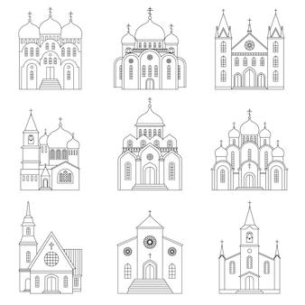 Wektor ikony linii kościoła. budynki bazyliki sanktuarium religijnego i kaplica modlitewna znaki liniowe