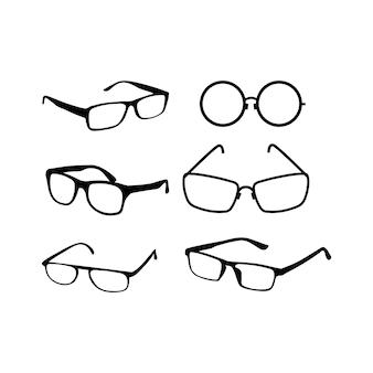 Wektor ikony okularu. sylwetki w kolorze czarnym.