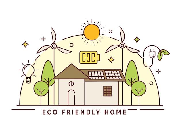 Wektor illustratio ekologicznego domu z wiatrakiem, żarówka, drzewo i słońce na białym tle.