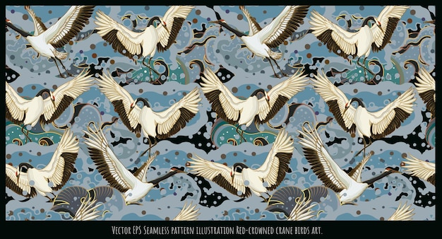 Wektor ilustracja bez szwu deseń japońska czerwono-koronowany żuraw ptaki sztuki.