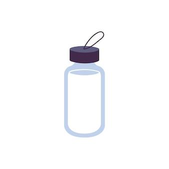 Wektor ilustracja butelka wielokrotnego użytku do wody na białym tle. pakiet przyjazny dla środowiska.