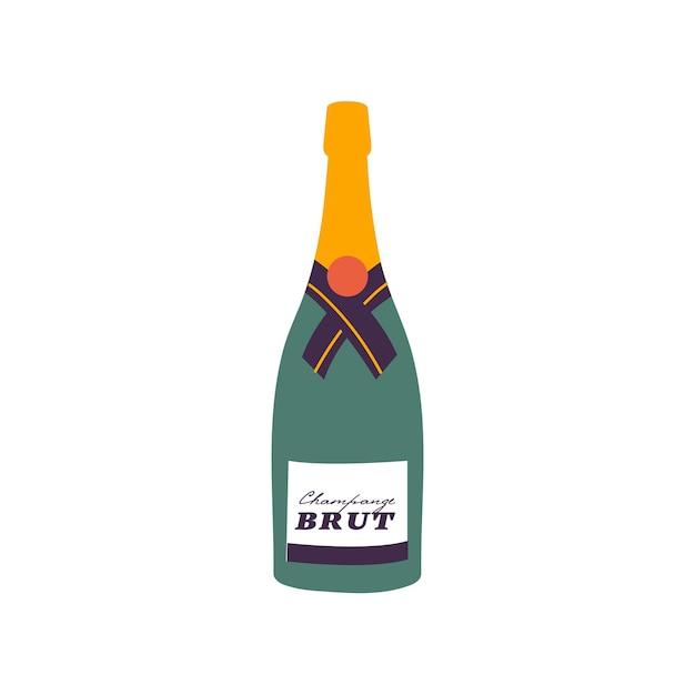 Wektor ilustracja butelka wina musującego na białym tle