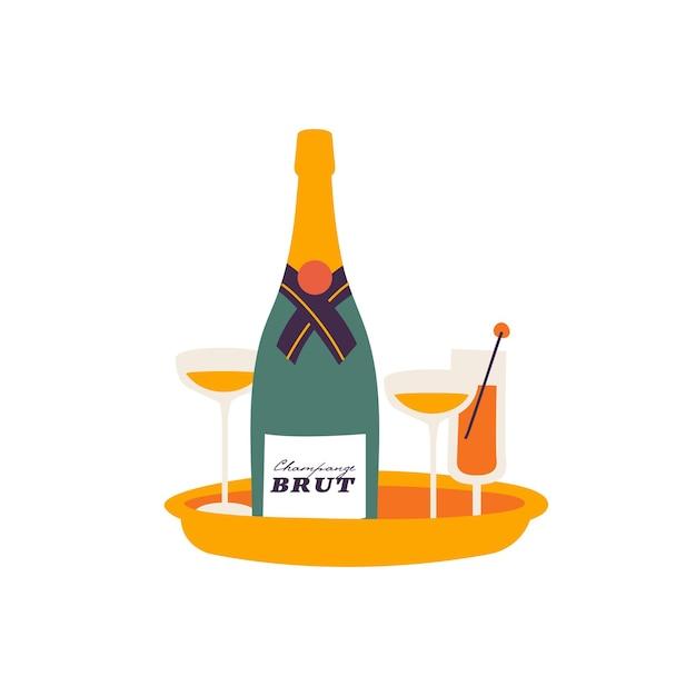 Wektor ilustracja butelka wina musującego w okularach. koncepcja uroczystości. pozdrowienie szablon karty lub plakatu.