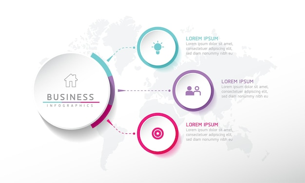 Wektor ilustracja infografiki szablon projektu informacji biznesowych wykres prezentacji z 3 o