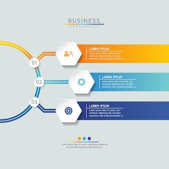 Wektor ilustracja infografiki szablon projektu informacji biznesowych wykres prezentacji z 3 opcjami lub krokami