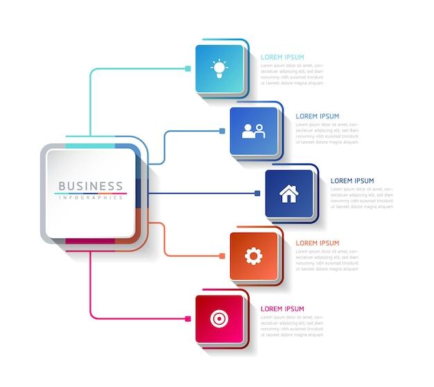 Wektor ilustracja infografiki szablon projektu informacji biznesowych wykres prezentacji z 5 o