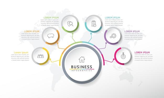 Wektor ilustracja infografiki szablon projektu informacji biznesowych wykres prezentacji z 6 o
