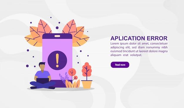 Wektor ilustracja koncepcja błędu aplikacji. nowożytna ilustracja konceptualna dla sztandaru szablonu