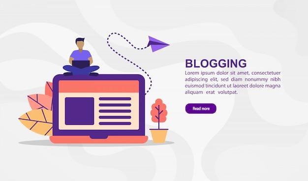 Wektor ilustracja koncepcja blogowania. nowożytna ilustracja konceptualna dla sztandaru szablonu