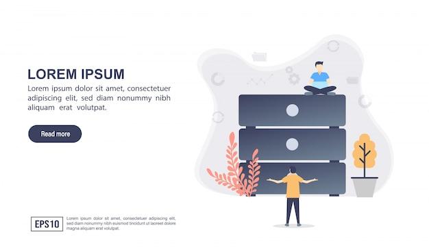 Wektor ilustracja koncepcja dużych danych z charakterem