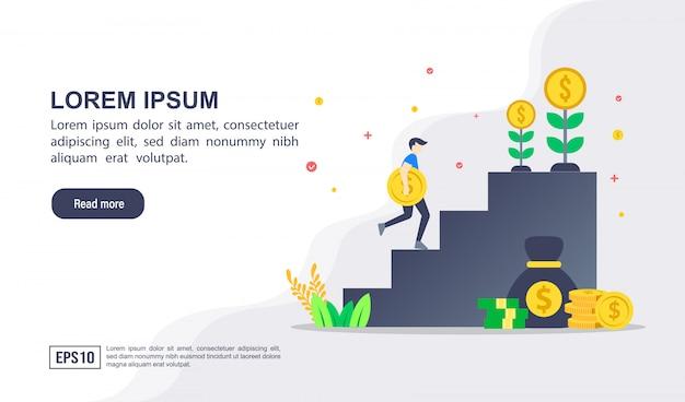 Wektor ilustracja koncepcja inwestycji z charakterem