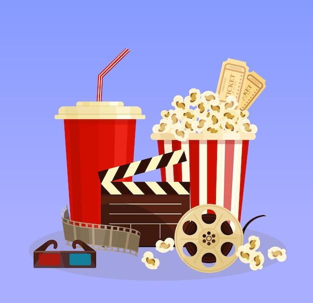 Wektor ilustracja koncepcja kina. popcorn, okulary 3d i kinematografia na taśmie filmowej