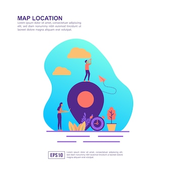 Wektor ilustracja koncepcja lokalizacji mapy