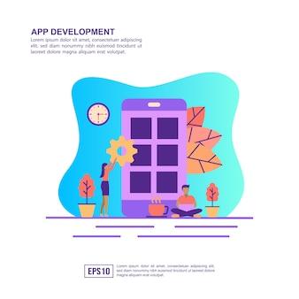 Wektor ilustracja koncepcja rozwoju aplikacji