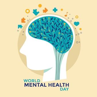 Wektor ilustracja koncepcja światowego dnia zdrowia psychicznego.