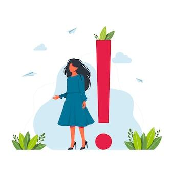 Wektor ilustracja koncepcja wykrzykników. businesswoman wokół ogromnych wykrzykników. kobieta stoi w pobliżu ogromnego wykrzyknika. zawiadomienie i koncepcja ważnych informacji