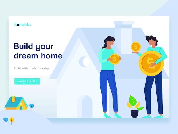 Wektor ilustracja koncepcje projektowania stron internetowych oszczędzania pieniędzy na nieruchomości