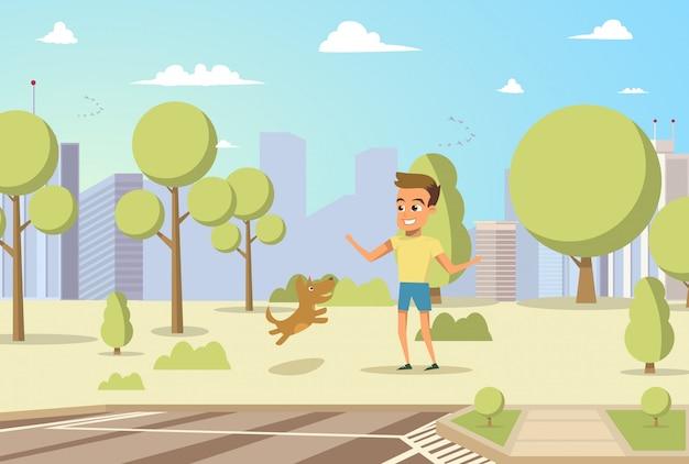 Wektor ilustracja kreskówka mały pies i chłopiec