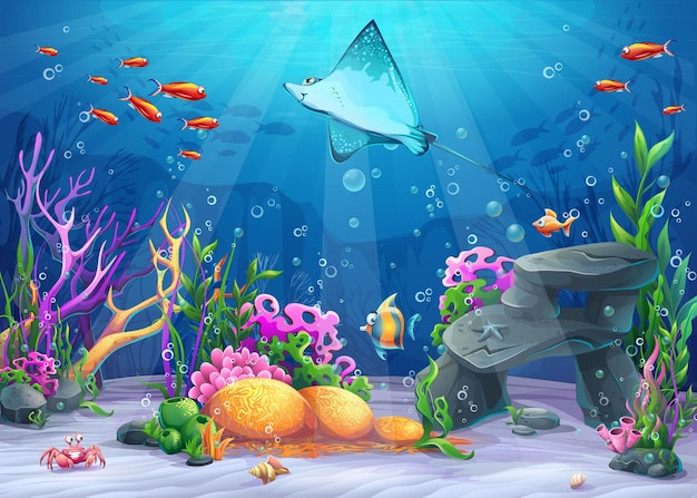 Wektor ilustracja kreskówka podmorski świat z zabawnym charakterem skurczów otoczonych koralowcami, rafami, skałami, rybami, krabami, muszlami