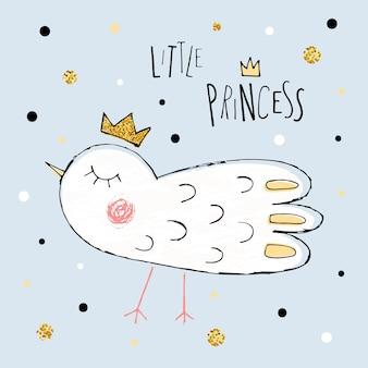 Wektor ilustracja kreskówka ptak dziewczyna nadruk nowoczesny plakat w stylu z ptakiem mała księżniczka