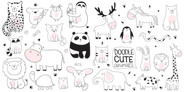 Wektor ilustracja kreskówka szkic z cute doodle zwierząt. idealny na pocztówkę, urodziny, książeczkę dla dziecka, pokój dziecięcy. panda, koala, lenistwo, lampart, hipopotam, szop pracz, sowa, żółw, lew