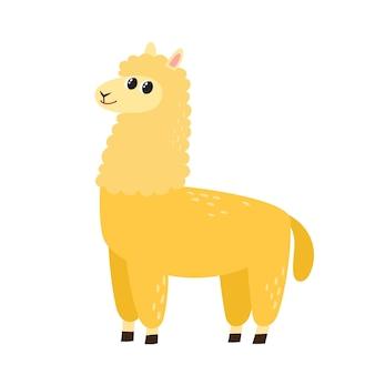 Wektor ilustracja kreskówka zabawna alpaka śliczny zabawny zwierzę stojący znak alpaki