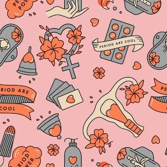 Wektor ilustracja liniowa zestaw produktów higieny intymnej. zero odpadów dla kobiet w krytycznych dniach. wzór.