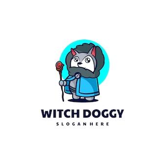 Wektor ilustracja logo kreatora pies maskotka stylu cartoon