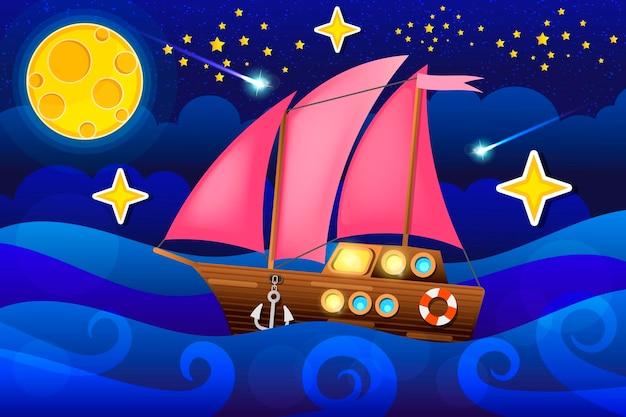 Wektor ilustracja morze statek w nocy księżyca. ilustracja wektorowa