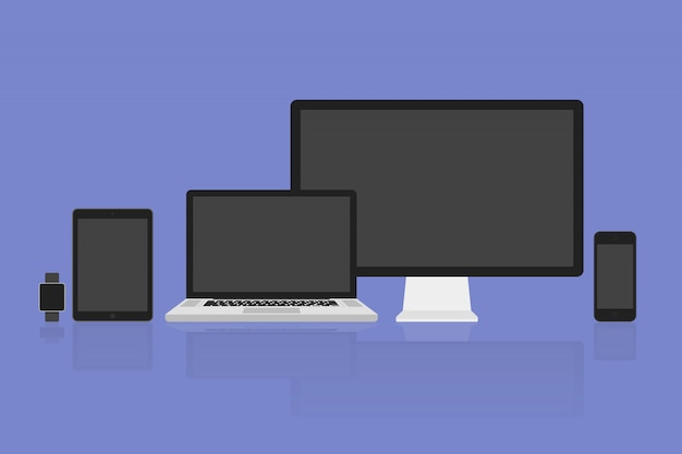 Wektor ilustracja nowoczesny monitor, komputer, laptop, telefon, tablet i inteligentny zegarek