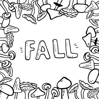 Wektor ilustracja płaski transparent z napisem spadek z jesiennych liści. obiekty doodle są wycinane. dekoracja tła.