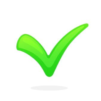 Wektor ilustracja płaski zielony znacznik wyboru wskazujący właściwy wybór zagłosuj i zaakceptuj przycisk