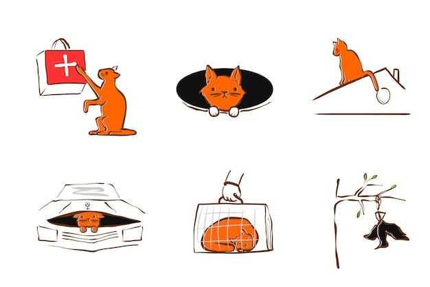 Wektor ilustracja projekt dla służby ratownictwa zwierząt domowych.