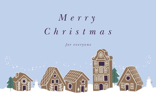 Wektor ilustracja projekt karty świąteczne pozdrowienia. kolekcja domków z piernika. słodkie naiwne świąteczne ciasteczka.