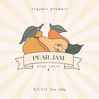 Wektor ilustracja projekt retro etykiety z owocami gruszki - prosty styl liniowy. kompozycja herby z owocami i typografią.