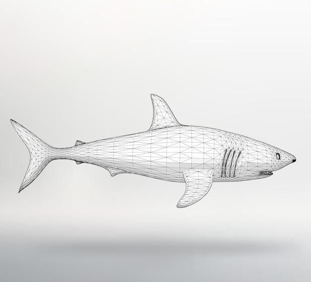 Wektor ilustracja rekin. siatka strukturalna wielokątów. streszczenie styl projektowania tła