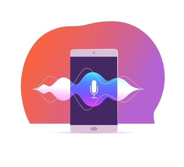 Wektor ilustracja rozpoznawania płaskiego głosu z ekranem smartfona, ikona mikrofonu dynamicznego na nim, fale dźwiękowe, stoisko na białym tle. sztuczna inteligencja, osobisty asystent, koncepcja nowoczesnych technologii.