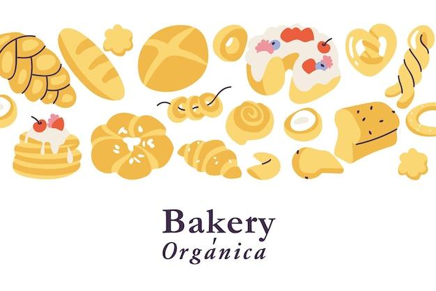 Wektor ilustracja tło asortyment różnych wypieków piekarnia sklep