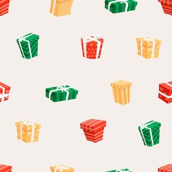 Wektor ilustracja wzór z pudełkami. wielokolorowe prezenty z kreskówek z kokardkami. świąteczny wystrój na tle.