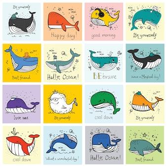 Wektor ilustracja zestaw kart z kreskówka mały wieloryb valentine w miłości i ręcznie rysowane tekst powitalny