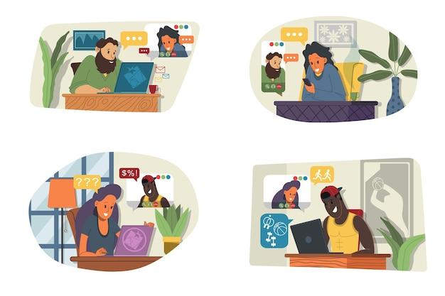 Wektor ilustracja zestaw seminarium internetowe, spotkanie online, praca z domu, płaska konstrukcja. wideokonferencje, telepraca, dystans społeczny, dyskusja biznesowa. postać rozmawiająca z kolegami online.